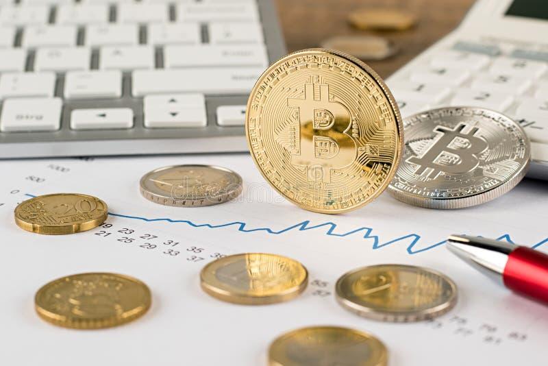 Crypto Bitcoin ευρο- οικονομική έννοια ανταλλαγής νομίσματος στοκ φωτογραφία με δικαίωμα ελεύθερης χρήσης
