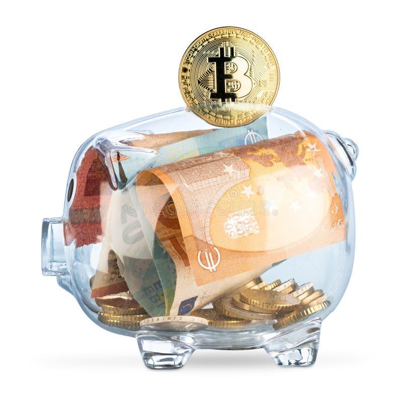 Crypto Bitcoin νομίσματος διαφανής piggy τράπεζα ν νομισμάτων τραπεζών ευρο- στοκ φωτογραφία