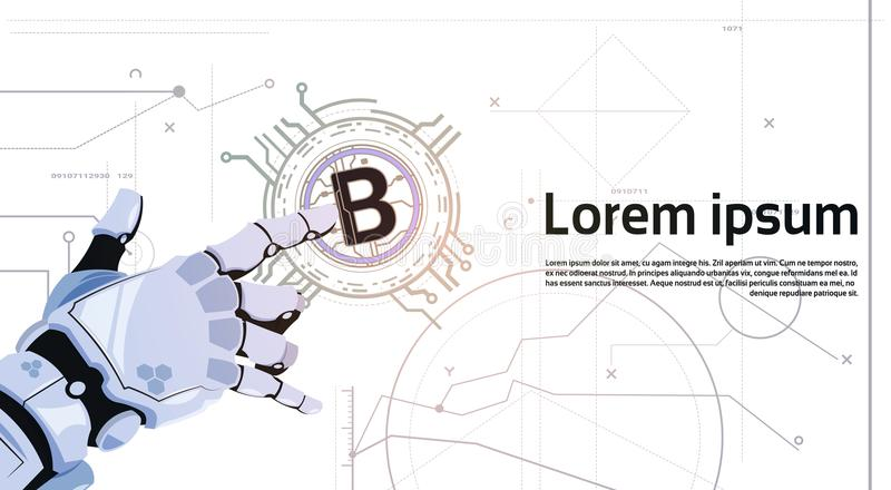 Crypto Bitcoins χέρι ρομπότ έννοιας νομίσματος σχετικά με το χρυσό κομματιών πρότυπο τεχνολογίας μεταλλείας χρημάτων Ιστού νομισμ απεικόνιση αποθεμάτων