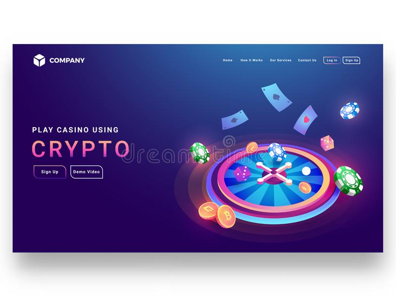 Crypto casino concept isometric design of roulette wheel with di. Ce, poker chip, coins, playing cards and sign up page for website or mobile apps royalty free illustration