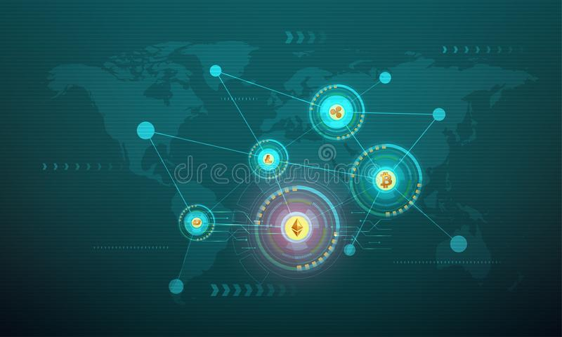 Crypto coins connected with each others. Crypto coins connected with each others on world map background vector illustration