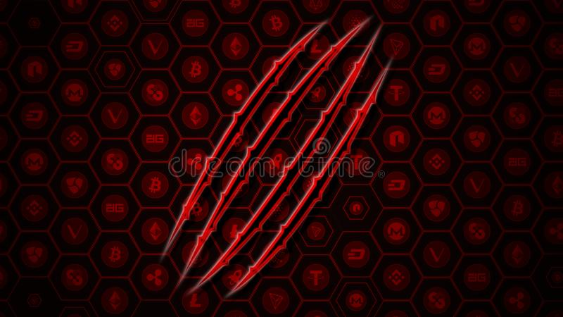 Crypto currencies market goes down concept. Glowing bear claw on red arrows and BitCoin and AltCoins background royalty free illustration