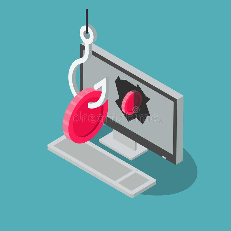 Crypto currency attack symbol with computer, red coins and fishing hook stock illustration