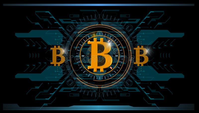 Crypto-currency, bitcoin technology, abstract visualization futuristic bitcoin , aesthetic design hud bitcoin background stock illustration