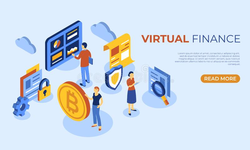 Crypto currency bitcoin technology. Cryptocurrency bitcoin technology isometric 3d icons infographics with business people, digital vector advert vector illustration