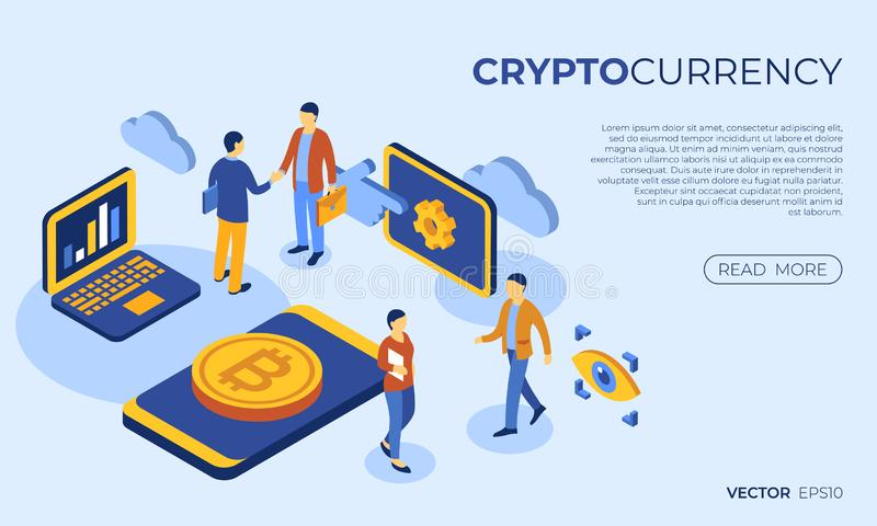 Crypto currency bitcoin technology. Cryptocurrency bitcoin technology isometric 3d icons infographics with business people, digital vector advert royalty free illustration
