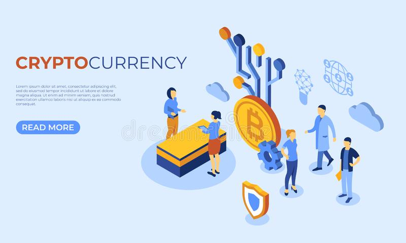 Crypto currency bitcoin technology. Cryptocurrency bitcoin technology isometric 3d icons infographics with business people, digital vector advert stock illustration