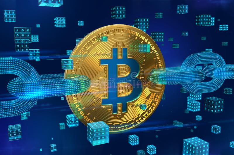 Crypto currency. Block chain. Bitcoin. 3D isometric Physical golden bitcoin with wireframe chain and digital blocks. Blockchain co. Ncept. Cryptocurrency stock photography