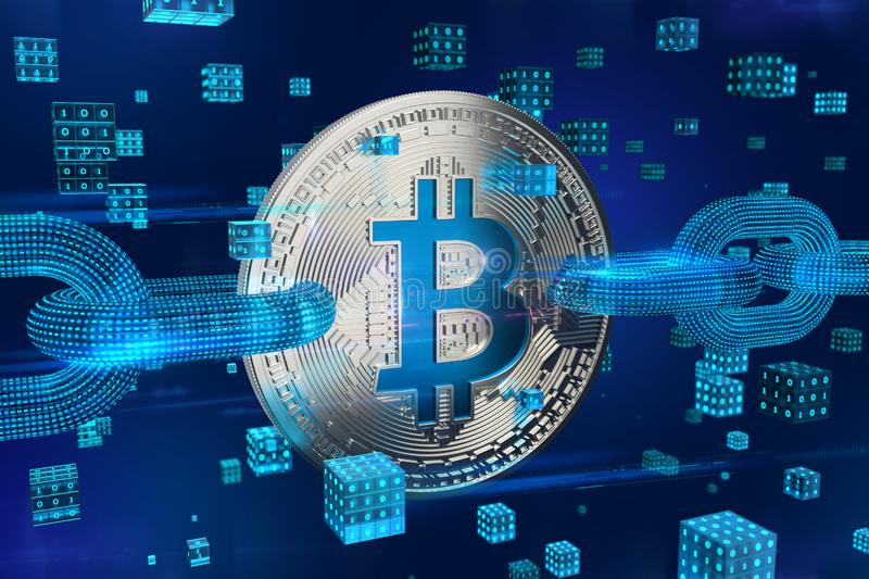 Crypto currency. Block chain. Bitcoin. 3D isometric Physical silver bitcoin with wireframe chain and digital blocks. Blockchain co royalty free stock photography