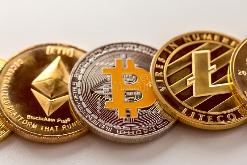 Crypto currency is on the calculator and dollars royalty free stock photo