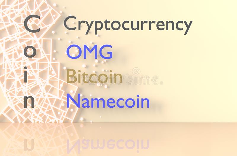 Cryptocurrency and coin background. 3d render. royalty free stock photo