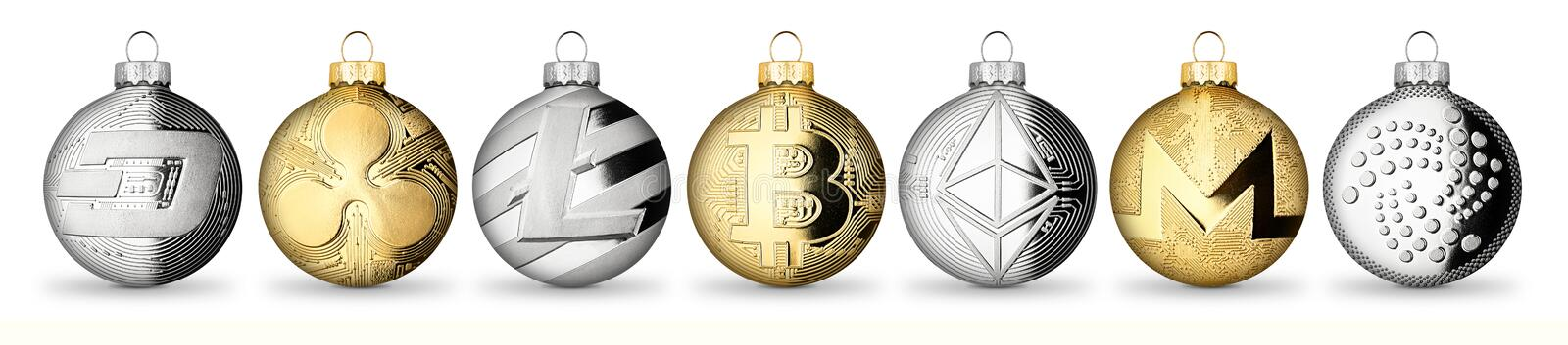 Crypto currency coin christmas xmas ball bauble set collection g stock images