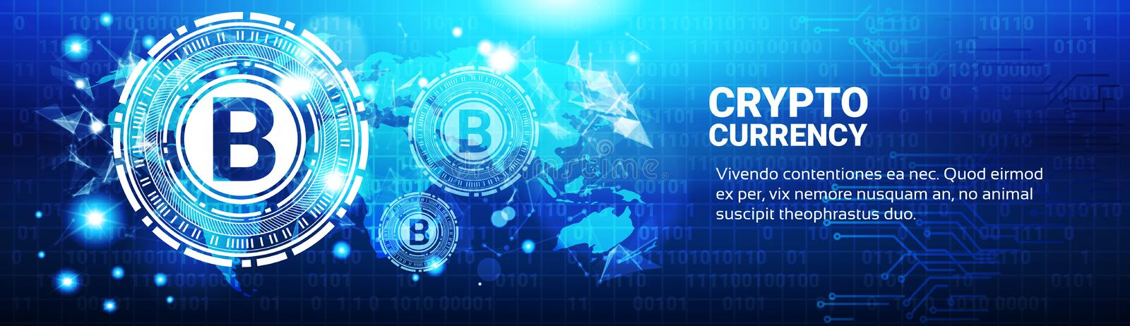 Crypto Currency Concept Bitcoin Sign On Blue World Map. Modern Web Money Technology Horizontal Banner Vector Illustration royalty free illustration