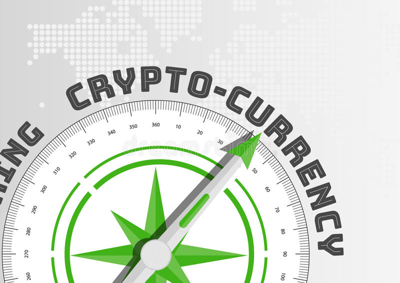 Crypto-currency concept with compass pointing towards text vector illustration