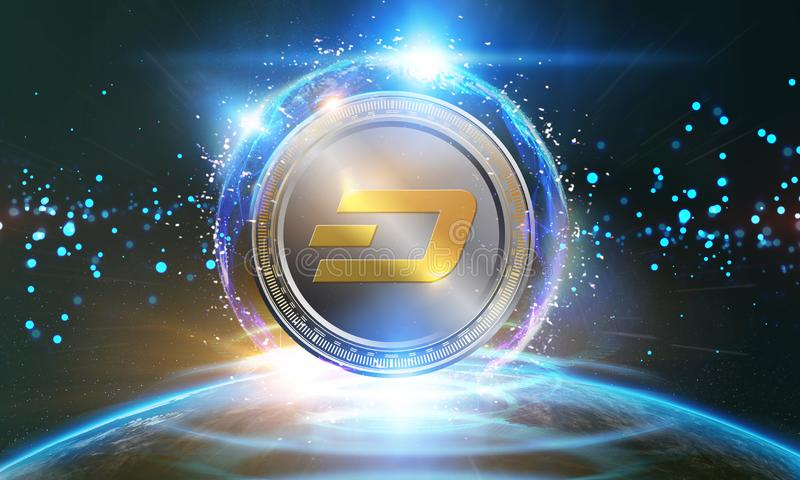 Crypto-currency,  Dash coins internet virtual money. Currency Technology Business Internet Concept. Crypto-currency, Dash coins internet virtual money. Currency vector illustration
