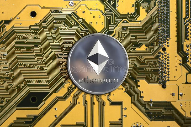 Crypto currency ethereum. ethereum coin stock image