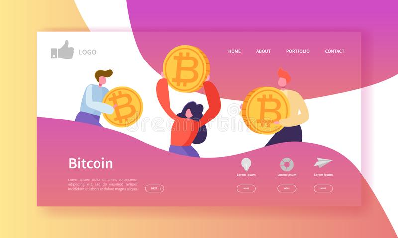 Crypto Currency Exchange Landing Page Template. Bitcoin Website Layout with Flat People Characters. Easy to Edit royalty free illustration