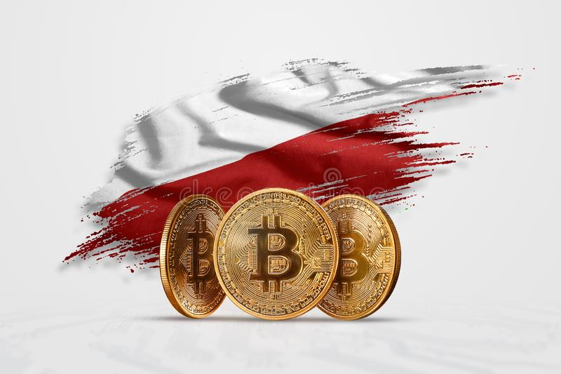 Crypto currency, gold coin BITCOIN BTC. Coin bitcoin against the background of the flag of Poland. The concept a new currency, stock photos