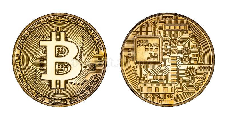 Crypto Currency Golden Bitcoin geïsoleerd op Witte Achtergrond Het concept virtuele internationale valuta en handel op het stock fotografie