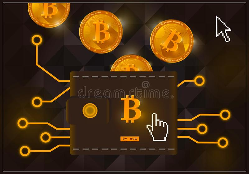 Wallet with crypto currency bitcoins on a black background vector illustration