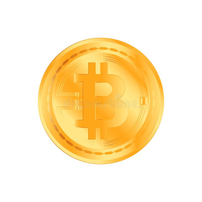 Crypto currency golden coin on white background. Bitcoin symbol of electronic money. Flat Illustration EPS 10 royalty free illustration