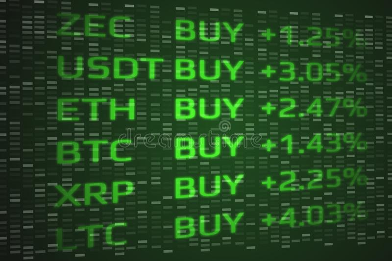 Crypto Currency market bullish buy concept. Double exposure of digital coins price up and binary data background. vector illustration
