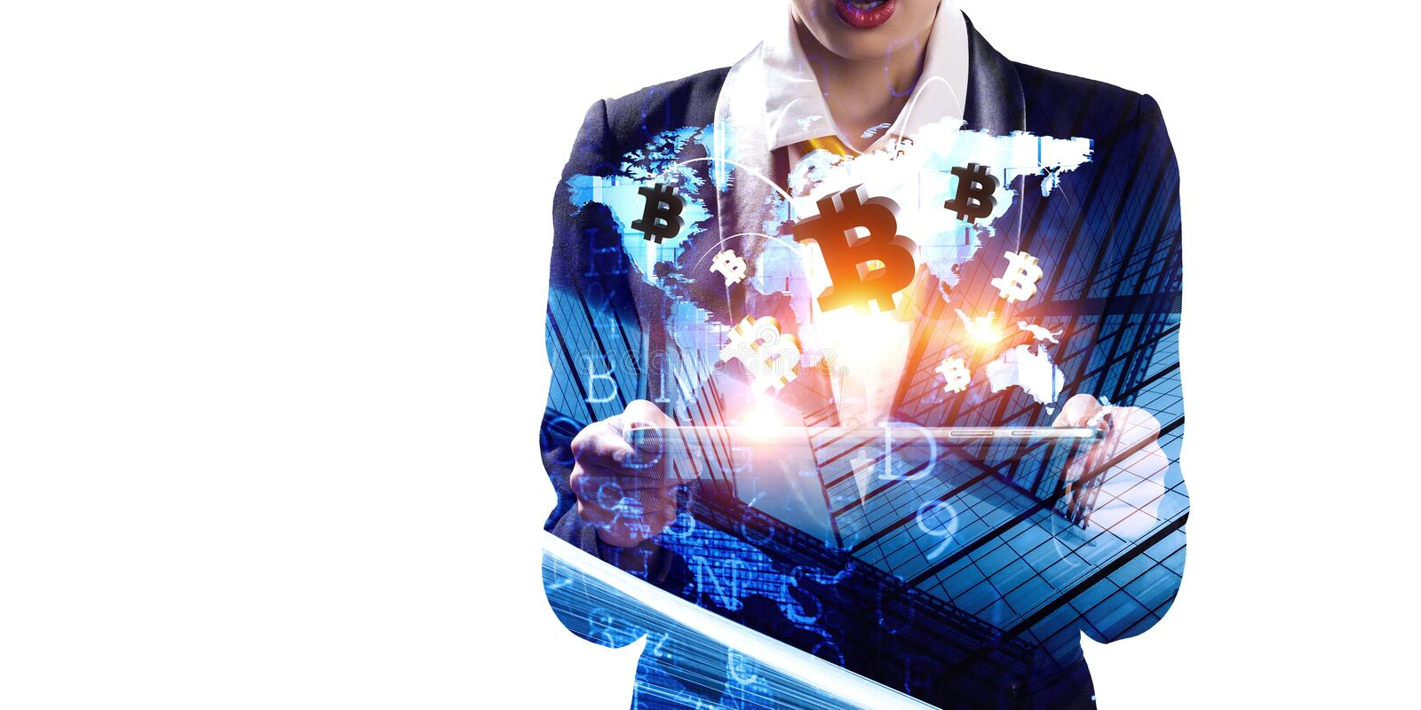 Crypto currency market . Mixed media. Close of elegant businesswoman holding tablet computer and bitcoin concept. 3d rendering royalty free stock image