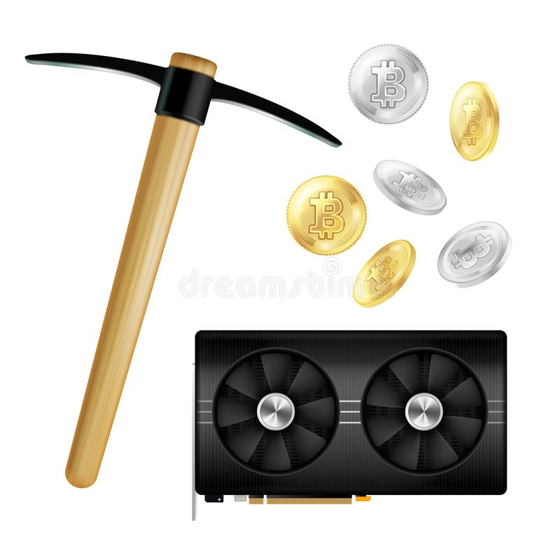 Crypto Currency Mining Realistic Icons stock illustration