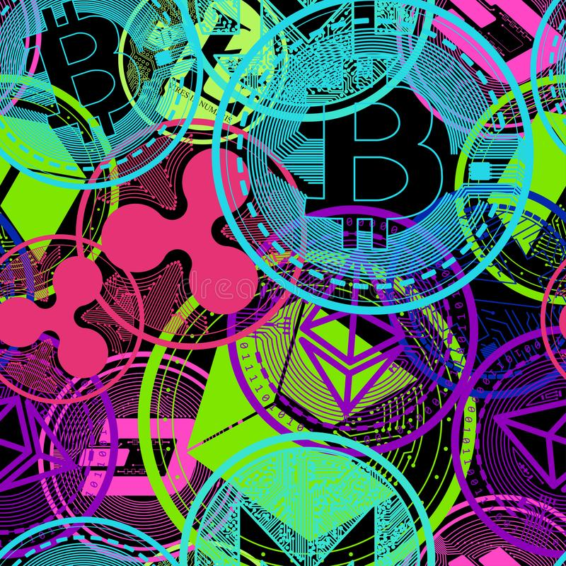 Crypto currency of neon color royalty free illustration