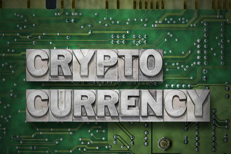 Crypto currency - pc board. Crypto currency phrase made from metallic letterpress blocks on the pc board background vector illustration