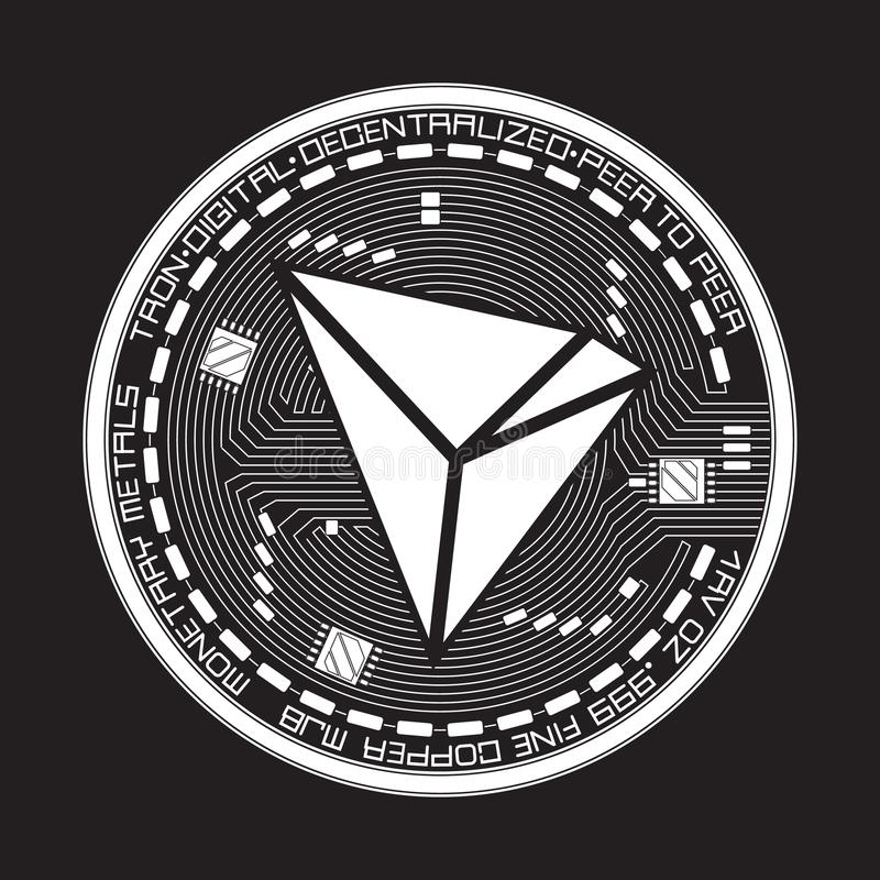 Crypto Currency Tron Black And White Symbol Stock Illustration