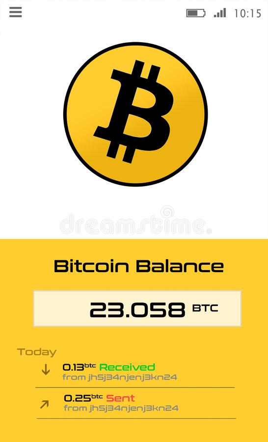 Crypto currency wallet application for smartphone screen royalty free stock photos