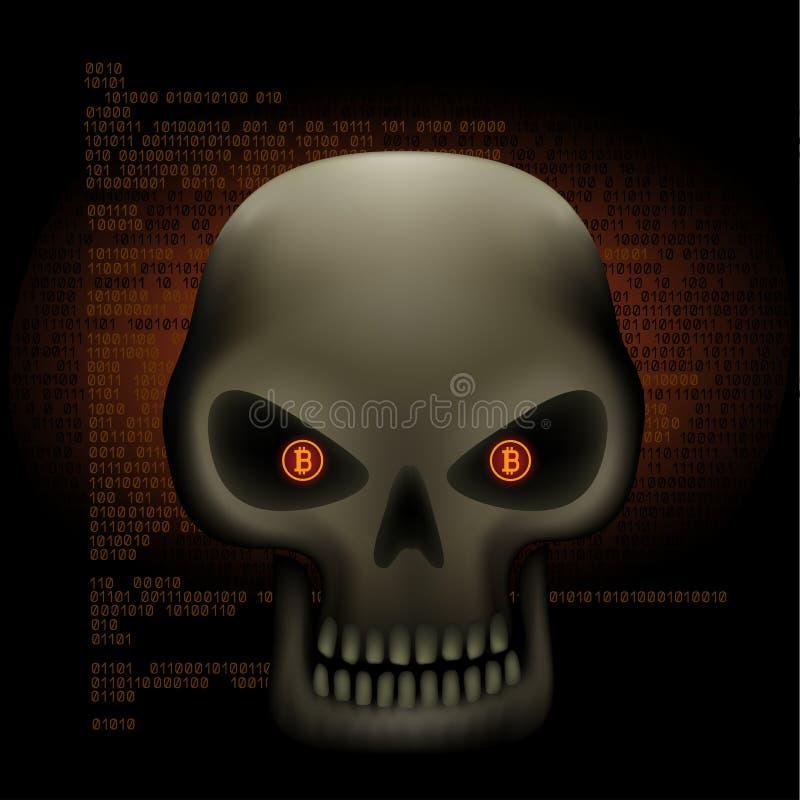 Crypto de ogen van de hakkerschedel bitcoin royalty-vrije illustratie