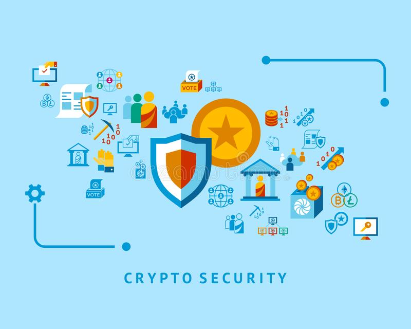 Crypto democracy icons set. Digital crypto democracy and security icons set infographics stock illustration