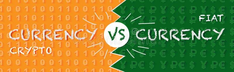 Crypto devise contre la monnaie fiduciaire illustration stock