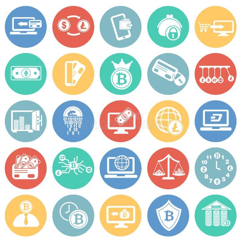 Crypto en elektronengeld op de achtergrond die van kleurencirkels wordt geplaatst royalty-vrije illustratie
