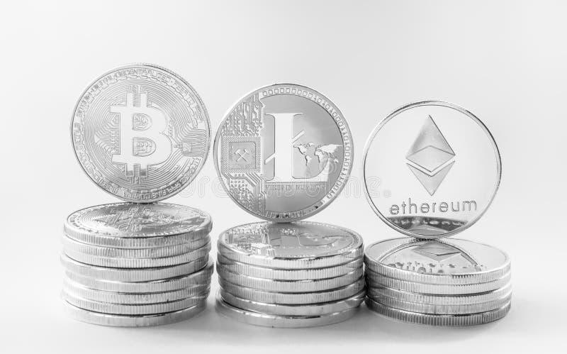 Crypto ethereum 2 de bitcoin de litecoin de devise photos libres de droits