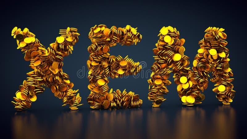 Crypto för valuta symbol NEM stock illustrationer