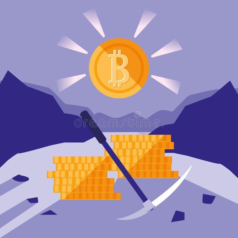 Crypto górnicze bitcoin ikony ilustracji