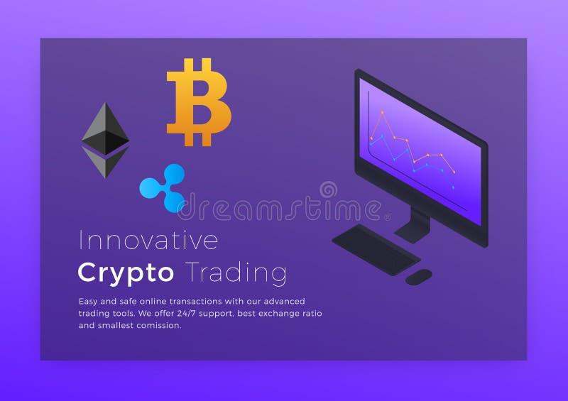 Crypto handlarska isometric ilustracja Cryptocurrency Bitcoin handlarski estradowy pojęcie ilustracji