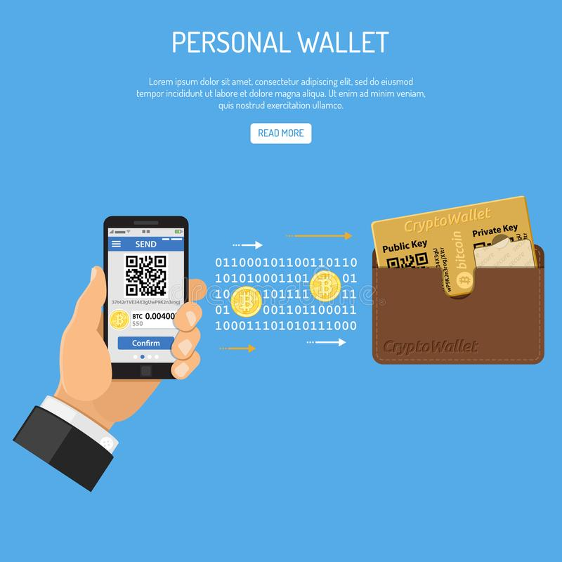 Crypto het concept van de munt bitcoin technologie vector illustratie