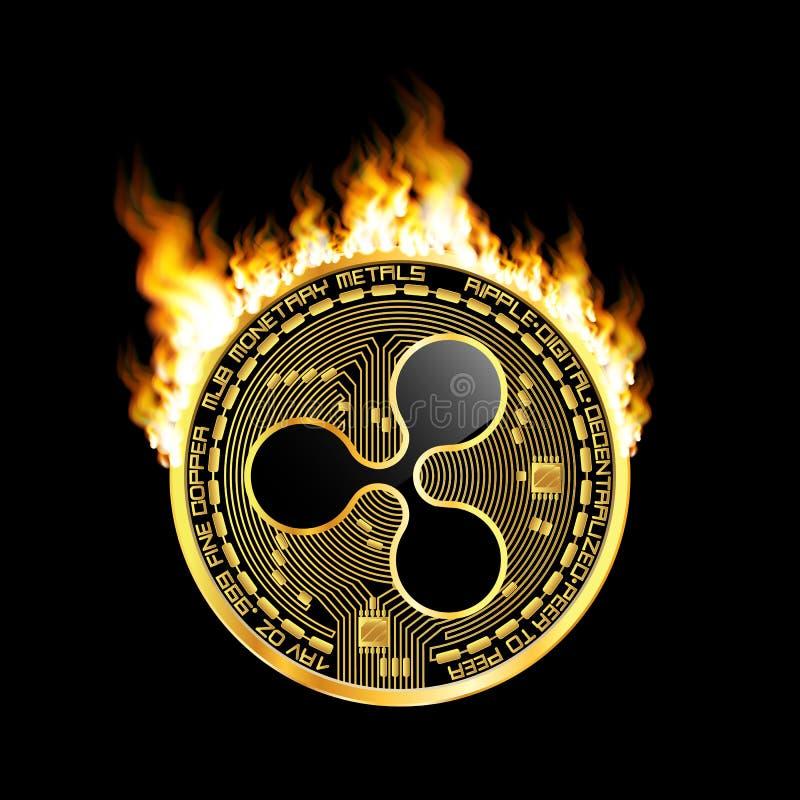 Crypto het gouden symbool van de muntrimpeling op brand royalty-vrije illustratie