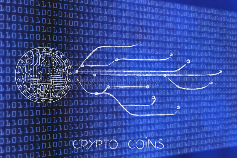 Crypto het muntstuk met elektronische kringen binnen en Internet verbinden royalty-vrije illustratie