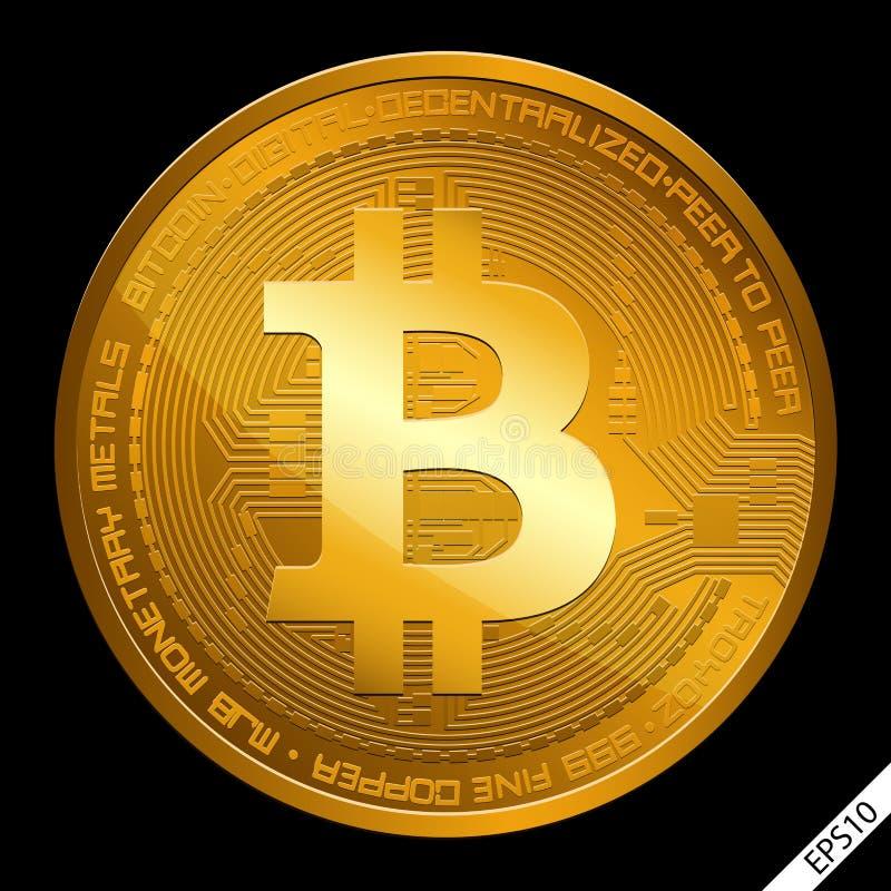Crypto illustration de vecteur de bitcoin de devise sur un fond noir illustration stock