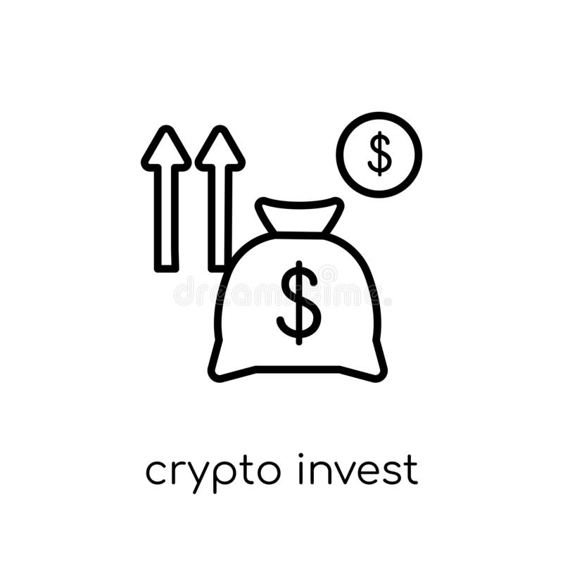 Crypto Invest icon. Trendy modern flat linear vector crypto Invest icon on white background from thin line Cryptocurrency economy. And finance collection royalty free illustration
