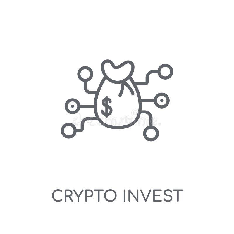 crypto investissez l'icône linéaire Le contour moderne crypto investissent l'escroquerie de logo illustration stock