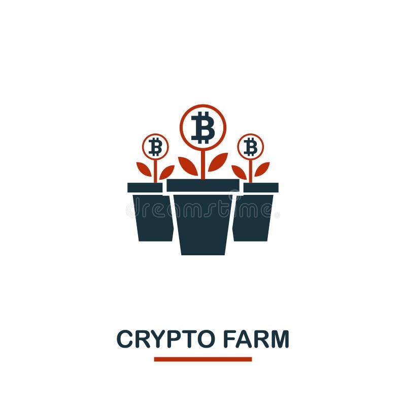 Crypto lantgårdsymbol Idérika två färger planlägger från crypto valutasymbolssamling Crypto lantgårdsymbol för enkel pictogram fö vektor illustrationer