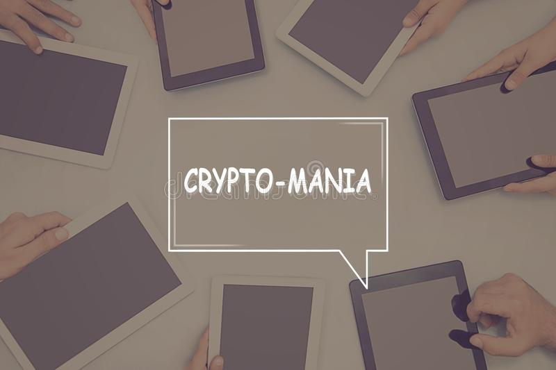 CRYPTO-MANIA CONCEPT Business Concept. royalty free stock image