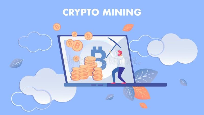 Crypto Mijnbouw, E-business Vlakke Vectorillustratie royalty-vrije illustratie