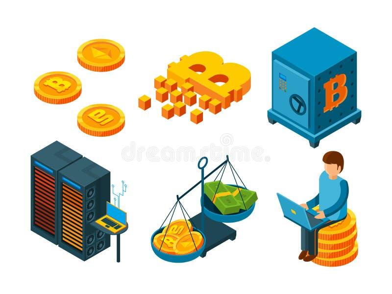 Crypto munt 3d pictogram Bedrijfsico blockchain computertechnologie die vector van geld bitcoin de globale financiën ontginnen vector illustratie